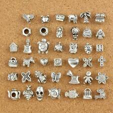40pcs Mix Lots Of Tibetan Silver Dangle Charms Fit European Bracelet new#