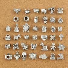 40pcs Mix Lots Of Tibetan Silver Dangle Charms Fit European Bracelet new#