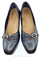 Clarks Artisan Keesha Raine Pump Women's 9 M Black Leather Dress Block Heel Shoe