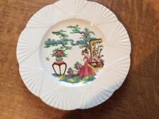 "Wedgwood Oriental Geisha 9"" creamware plate fan shape ca. 1920"