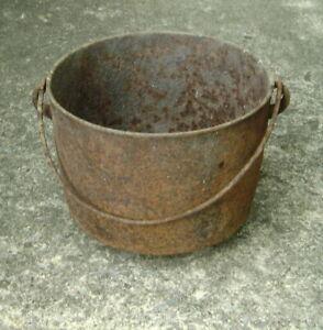 Antique 19th c. Cast Iron Pot Yard Garden Ornament or Flower Pot Planter