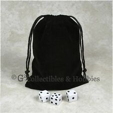 """NEW 5"""" x 7"""" Black Velveteen Cloth Dice Bag RPG D&D Tokens Game Counter Pouch"""