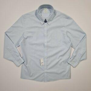 Brooks Brothers Men's Blue Non-Iron Long Sleeve Milano Slim Fit Shirt Large