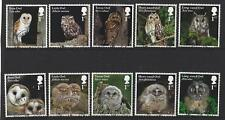 GREAT BRITAIN 2018 OWLS SET OF 10 SINGLES FINE USED