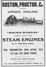 RUSTON PROCTOR Ltd, Lincoln; Valve Gear Steam Engines - Antique Advert 1909