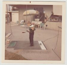 Square Vintage 70s PHOTO Young Little Boy Swinging Golf Club