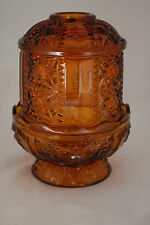 Vntg Amber Glass Candle Holder 2-pc Diamond-cut Thick Heavy Flawless!