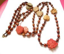 VINTAGE 1950'S BURGUNDY BROWN & TAN SEES / PIPS BEADED LONG BEADS NECKLACE