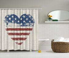 Americana Patriotic USA Flag Shower Curtain 4th July Stars & Stripes Bath Decor