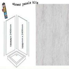 SILVER TRAVERTINE SHOWER WALL PANELS KITS 2X1M X 2400X 10MM THICK