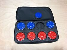 TABLE SHUFFLEBOARD CLOTH PUCK CASE CARRIER FOR YOUR PUCKS - WEIGHTS - WITH STRAP