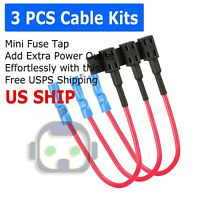3 Pack 12V Car Add-A-Circuit Fuse Tap Adapter Mini ATM APM Blade Fuse Holder
