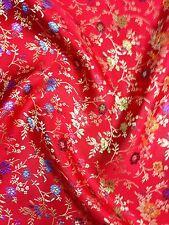 Chino BROCADO Floral Flor Oriental Asiática De Tela Rojas