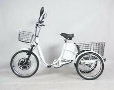 bicicletta elettrica tre ruote cestone posteriore blu e ruote ammortizzate