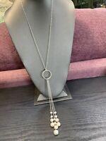 "Ladies Vintage Silver Rope Chain Freshwater Pearl Tassel Necklace 24"""