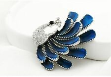 Rhinestone Enamel Blue Lovely Peacock Brooch Pin Shawl Scarf Pin