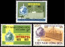 SOUTH VIETNAM 1973 INTERPOL 50 Anni. 451-453, 50 Năm Cảnh Sát Quốc Tế MNH