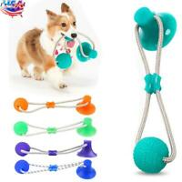 Pet Molar Bite Toy Dog Tug Rope Ball Chew Toys Pet Tooth Cleaning Suction Cup US