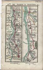 Antique map, Road: Angers to Nantes. 1774, Guide Royal par L Denis