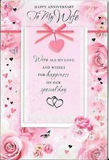 ANNIVERSARY CARD TO MY WIFE - PINK, HEARTS, FLOWERS