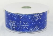 Silver Sparkle Snowflake on Sheer Blue Wide Wired Ribbon 50 yards NEW christmas
