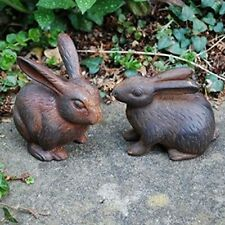 Rabbit Garden Ornaments Pair of Bunny or Bunnies Solid Cast Iron Metal Animals