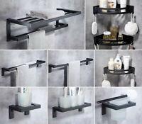 Bathroom Black Aluminum Towel Rack Paper Holder Corner Shelf Toilet Brush Cup