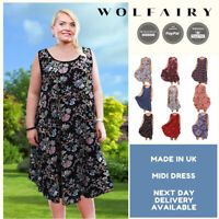 Wolfairy Plus Size Summer Dress Lagenlook Sleeveless Boho Beach Holiday Floral
