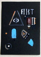 """ABSTRACT Mixed Media COLLAGE on black paper - 7.25"""" x 5.25"""""""