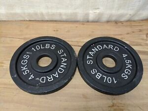 """x2 10 LB CAP 2"""" Olympic Hole Iron STANDARD Weight Plates Pair (20lbs Total)"""