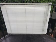 White Slated Window venetian Blind 55ins Wide + Ceiling Fittings & Pole