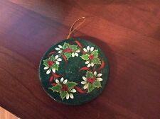 Holly And Berries And White Hydrangeas Hand Painted Christmas Ornament