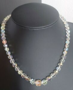 LOVELY VINTAGE 40s 50s LEAD GLASS CRYSTAL AURORA BOREALIS CHOKER NECKLACE 17