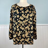 Size X (XL - 0X) Ava And Viv Black Gold Balloon Sleeve Top Blouse Shirt Boho NWT