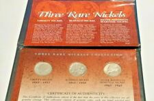 Three  Rare Nickels Collection Liberty, Buffalo, Jefferson Silver War