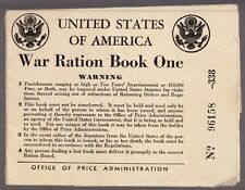 [57281] 1942 U.S. WAR RATION BOOK ONE CERTIFICATE OF REGISTRAR WITH TWO STAMPS
