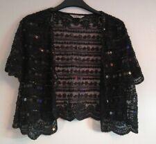 East By Fusion Black Sequin Shrug Bolero Size 14