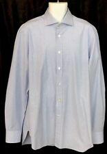 Kiton Shirt Medium Several Blue Shades Cotton Button Down 17 1/2×44