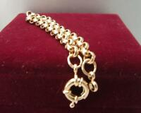 18ct 18K Yellow gold belcher bolt ring chain solid womens mens bracelet 18cm