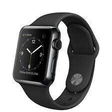 Apple Watch 38mm Space Black Stainless Steel Case & Sport Band - Black