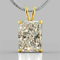 3.50Ct Radiant Cut Moissanite Diamond Pendant for Necklace Solid 14K Yellow gold