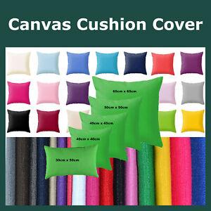 Plain Dyed Solid Cotton Canvas Cushion Cover Decorative Accent Pillow Case Sham