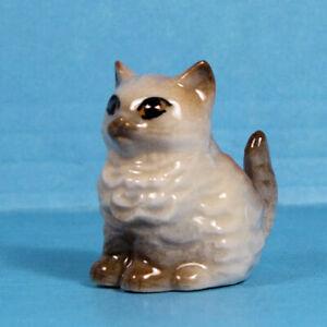 """Mini dollhouse fluffy kitten planter - porcelain- 2"""" high- 1:12 scale porcelain"""