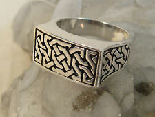 Size 12 Square Knotwork Modernist Sterling Silver Celtic Knot Ring