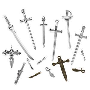 32pcs Mixed Tibetan Alloy Knife Big Pendants Sword Metal Dangle Charms 23~107mm
