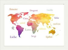 World map posters ebay inspirational world map watercolour love amore quote print poster a4 gumiabroncs Images