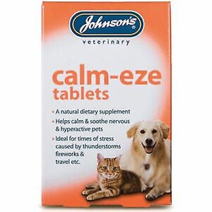 Johnsons Calm-Eze 36 Tablets Calms Nervous Soothes Hyper Active Dog Cat Remedy