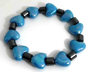 1pc Charm Sky Blue Love Heart & Metallic Tube Plastic Elastic Bracelet Valentine