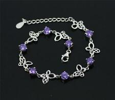 Stylish Solid 925 Sterling Silver Purple amethyst, Butterfly Bracelet/ Bangle 80