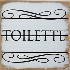 """Wall/Door Art - """"Toilette"""" - Wood Sign, Pallet Style - French for Bathroom,6x6x1"""
